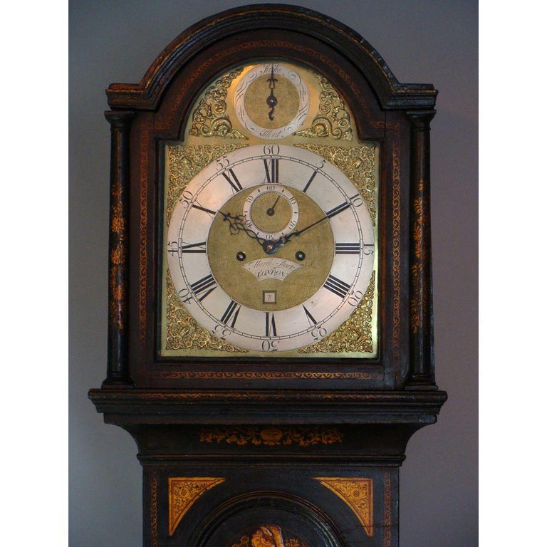 Small Georgian Green Japanned Lacquer Chinoiserie Longcase Clock, 18th Century For Sale 4