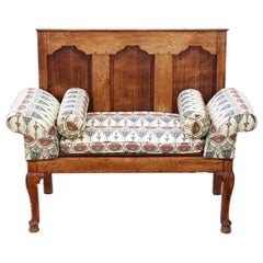 Small Georgian Oak Settle Bench Seat, 18th Century