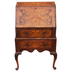 Small Georgian Revival Inlaid Burr Walnut Bureau Desk Writing Table