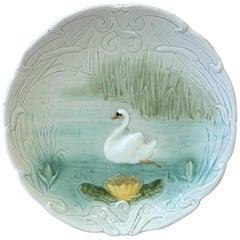 Small German Majolica Swan Plate, circa 1900