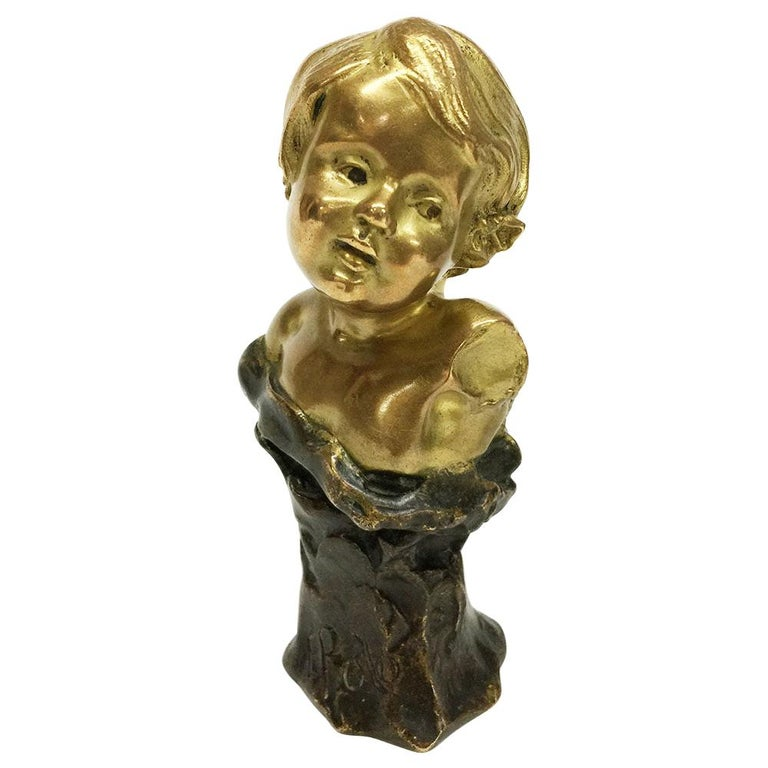 Small Gilded French Bronze Bust by Rene de Saint-Marceaux, 1897 For Sale