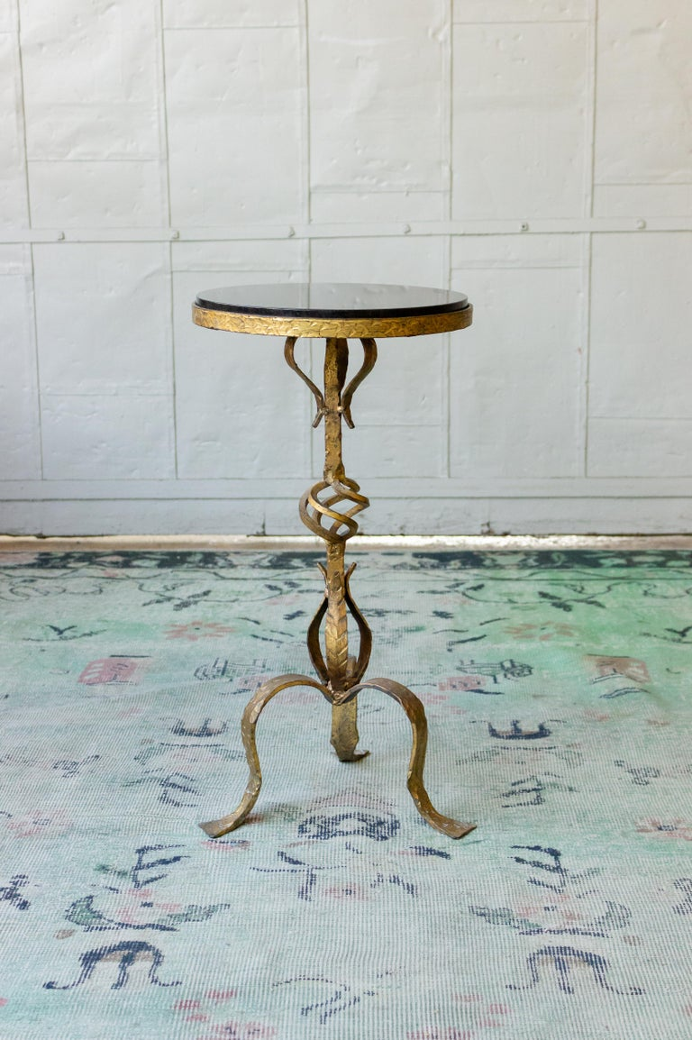 Small Gilt Iron Side Table with Granite Top For Sale 1