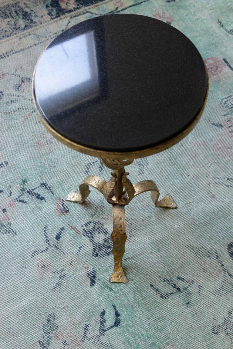 Small Gilt Iron Side Table with Granite Top For Sale 2