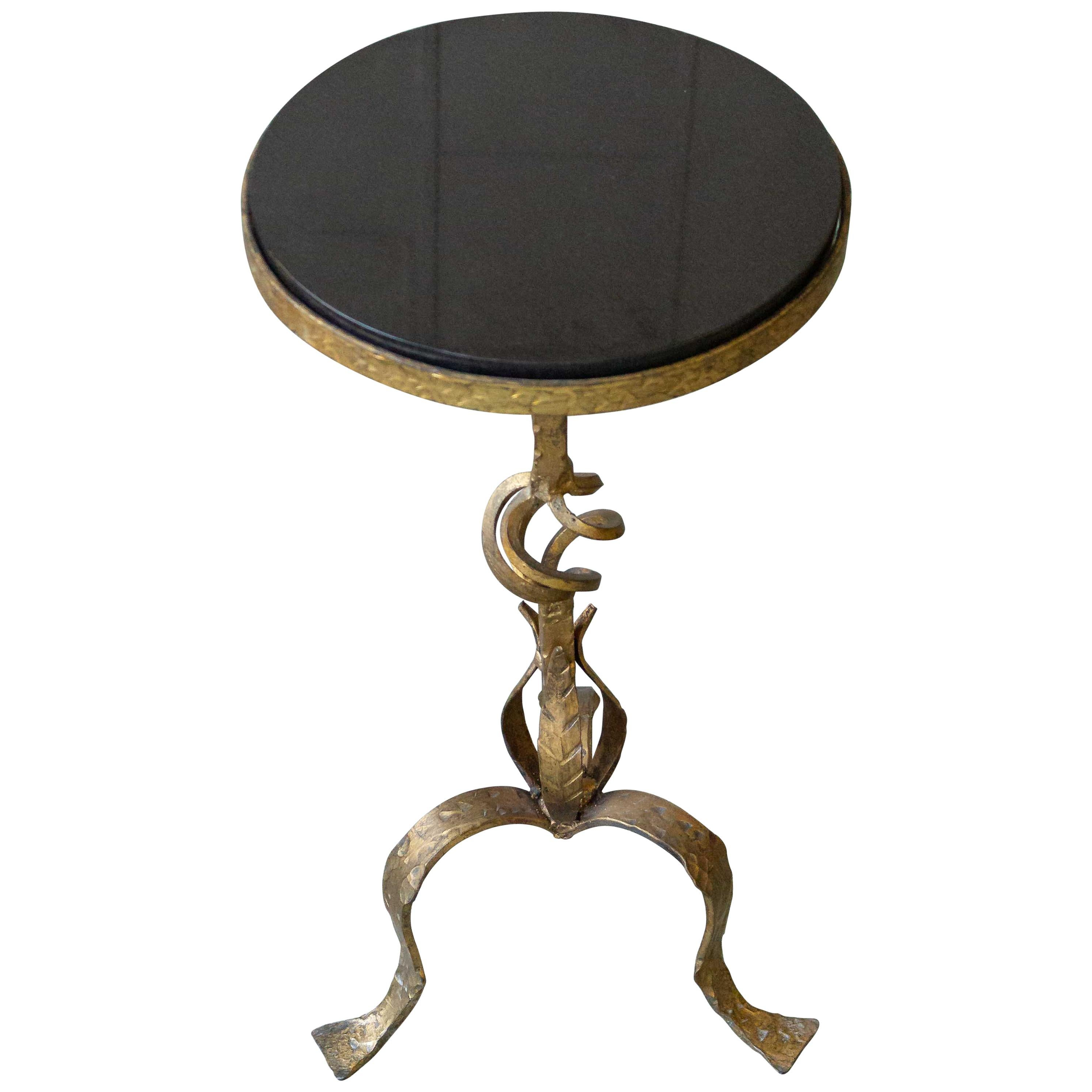 Small Gilt Iron Side Table with Granite Top
