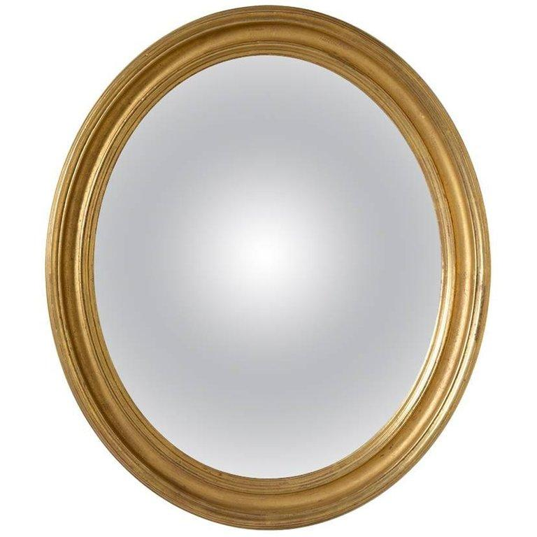Adam Style Small Gilt Oval Frame with Handk Drawn Deep Convex Mirror For Sale