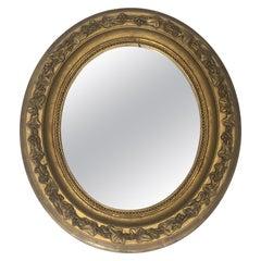 Small Gilt Stuck Oval Mirror, French, circa 1900