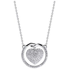 Small Give and Receive Heart Pendant in 18 Carat White Gold Set with Diamonds