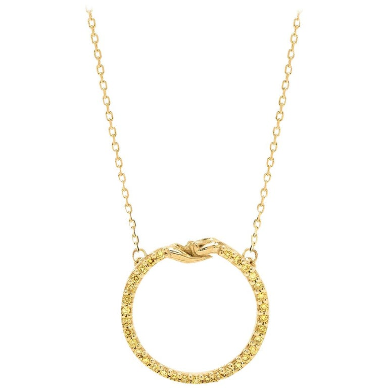 Small Give and Receive Pendant in 18 Carat Yellow Gold Set with Yellow Diamonds For Sale
