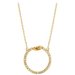 Small Give & Receive Pendant in 18 Carat Yellow Gold set with White Diamonds