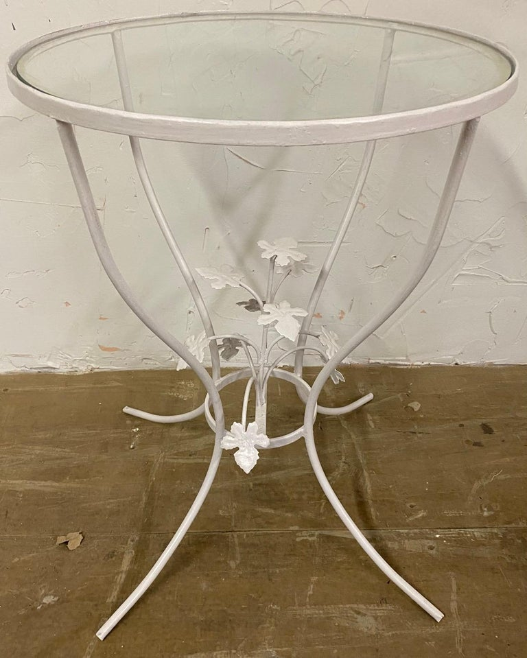 Small Glass and Metal Garden Table In Good Condition For Sale In Great Barrington, MA