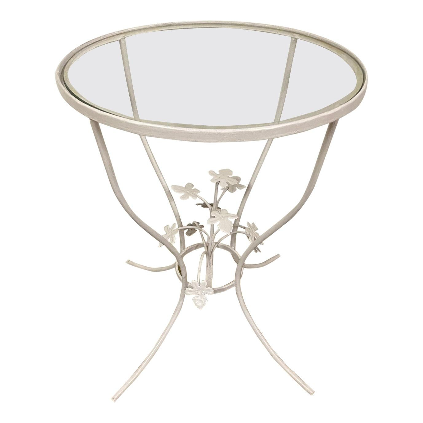 Small Glass and Metal Garden Table
