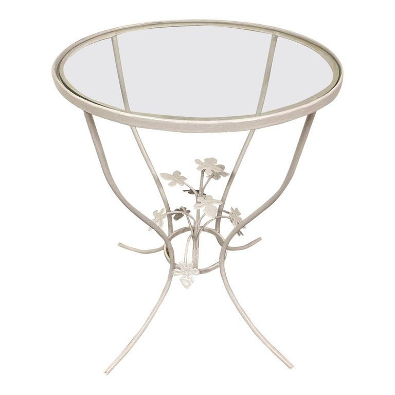 Small Glass and Metal Garden Table For Sale