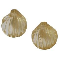 Small Gold Italian Murano Art Glass Seashell Form Bowl