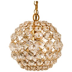 Small Gold-Plated Brass and Crystal Pendant Lamp from Palwa, 1960s