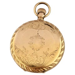 Small Gold-Plated Full Hunter Engine Turned Cased Waltham Antique Pocket Watch