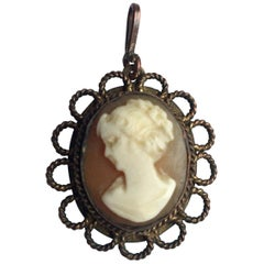 Small Gold-Plated Victorian Cameo Pendant
