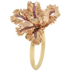 Small Gold Tulip Ring with Pink Sapphires Amethyst Opals Tsavorite and Crystal