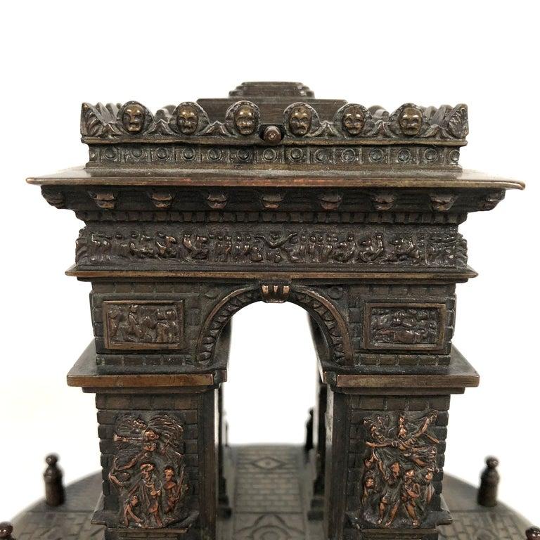 Cast Small Grand Tour Bonze Architectural Model of the Arc De Triomphe in Paris For Sale