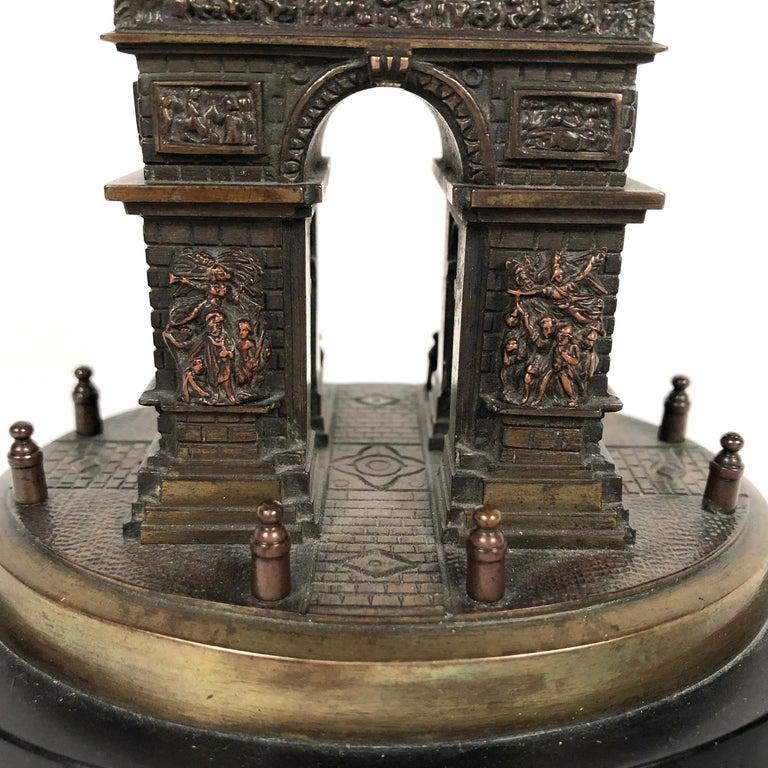 Small Grand Tour Bonze Architectural Model of the Arc De Triomphe in Paris In Good Condition For Sale In Essex, MA