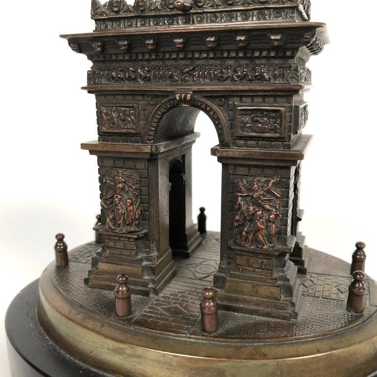 Late 19th Century Small Grand Tour Bonze Architectural Model of the Arc De Triomphe in Paris For Sale