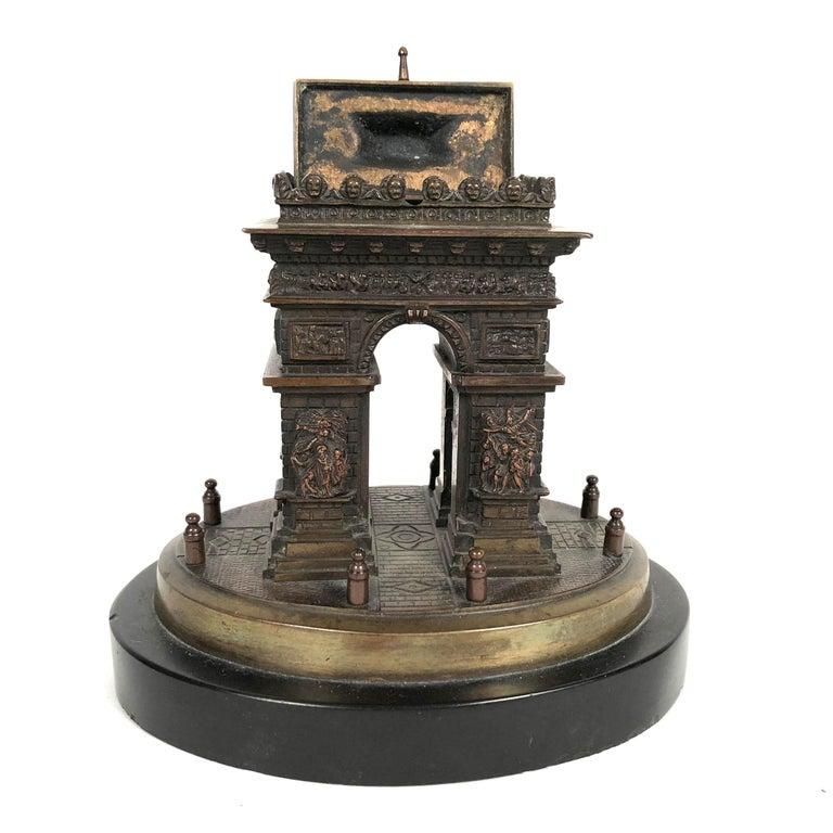 Small Grand Tour Bonze Architectural Model of the Arc De Triomphe in Paris For Sale 1