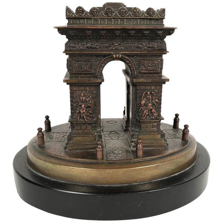 Small Grand Tour Bonze Architectural Model of the Arc De Triomphe in Paris For Sale