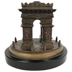 Small Grand Tour Bonze Architectural Model of the Arc De Triomphe in Paris