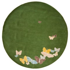 Small Green, Blue, Orange, Pink, Round Wool and Silk Rug, Butterfly, Handmade