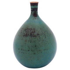 Small Green Vase in Stoneware, Stig Lindberg, Gustavsbergs Studio