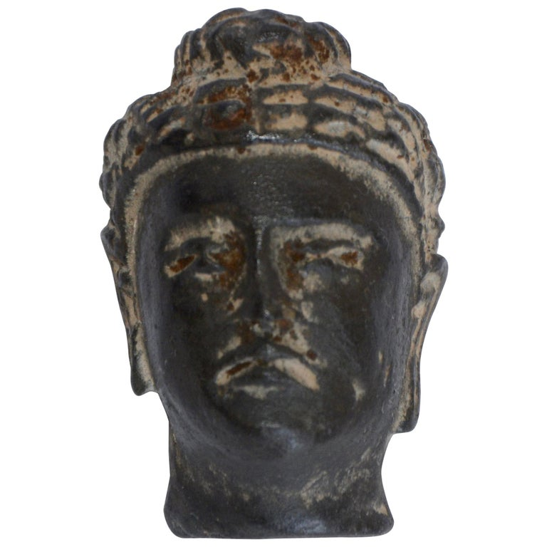 Small Hand Carved Stone Buddha Head, 20th Century For Sale