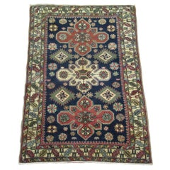 Small Hand Knotted Antique Wool Caucasian Shirvan Rug