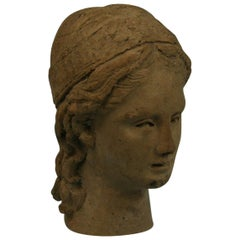 Small Hand Made Roman Terracotta Female Patrician Sculpture