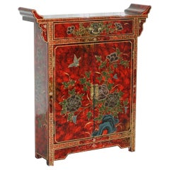 Small Hand Painted Chinese Floral Sideboard Bookcase with Removable Shelves