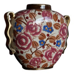 Small Hand Painted Floral Design Art Deco Vase, R. Chevalier for Boch circa 1920