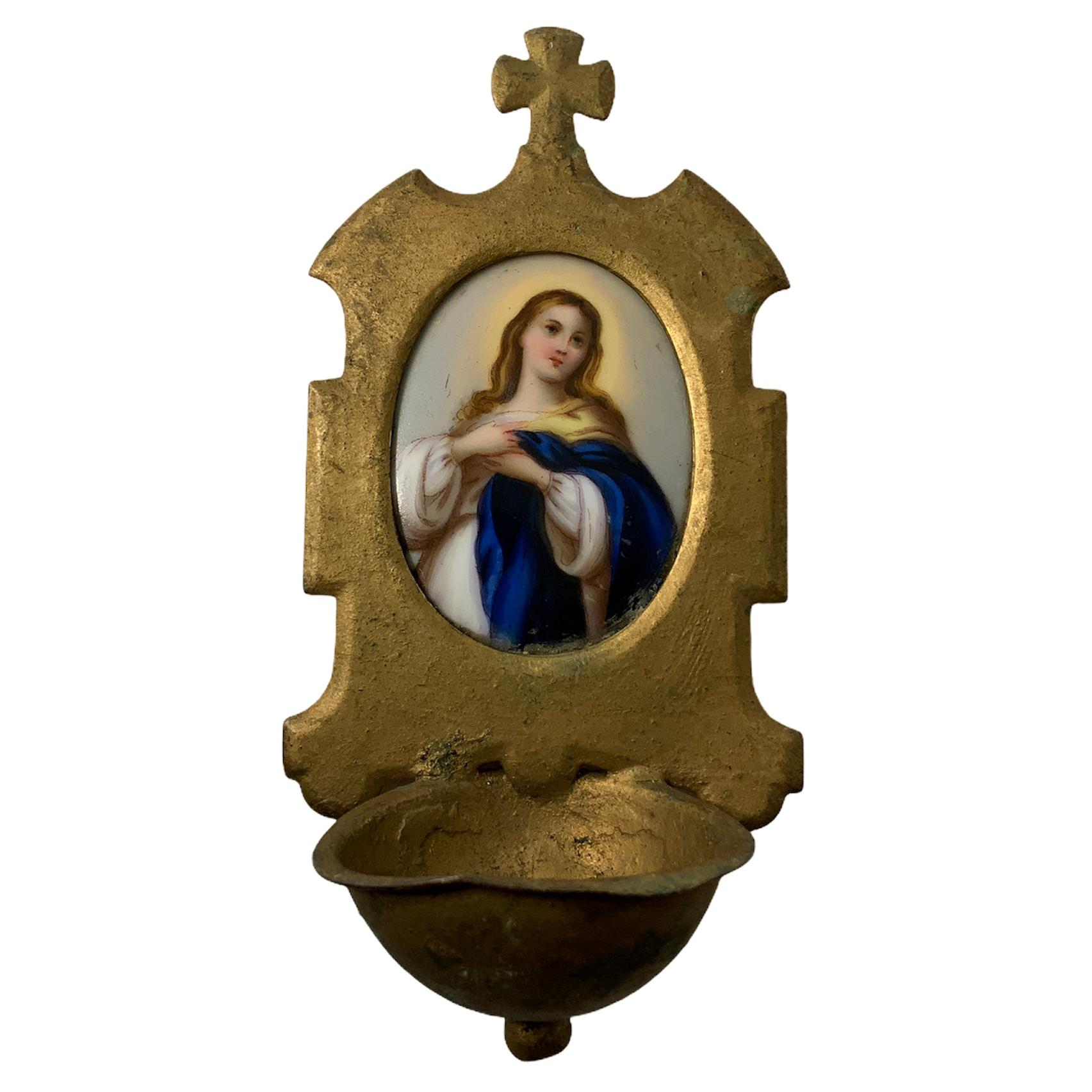 Small Hand Painted Porcelain Virgin Mary Holy Water Font Wall Plaque