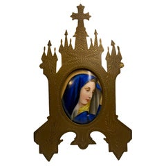 Small Hand Painted Porcelain Virgin Mary Mounted on Metal Framed Stand