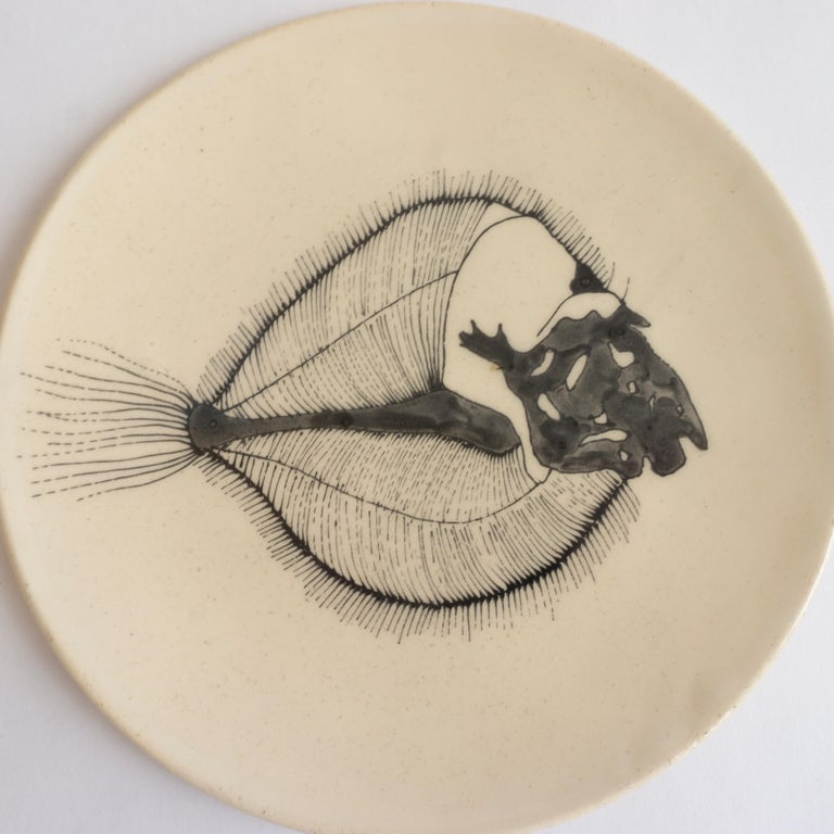 French Small Handmade Ceramic Plates with Fish Fossil Illustration For Sale