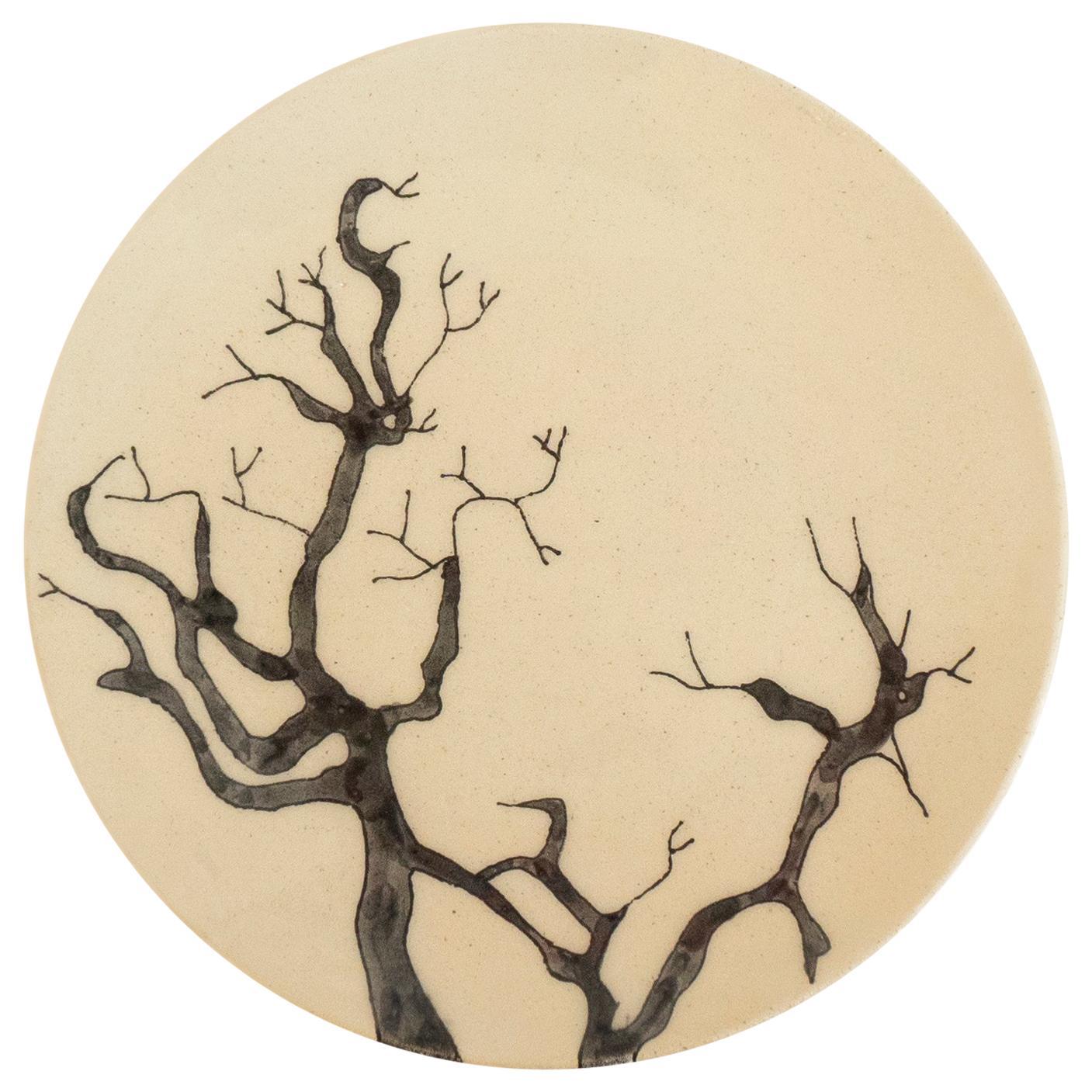 Small Handmade Ceramic Plates with Tree Illustration