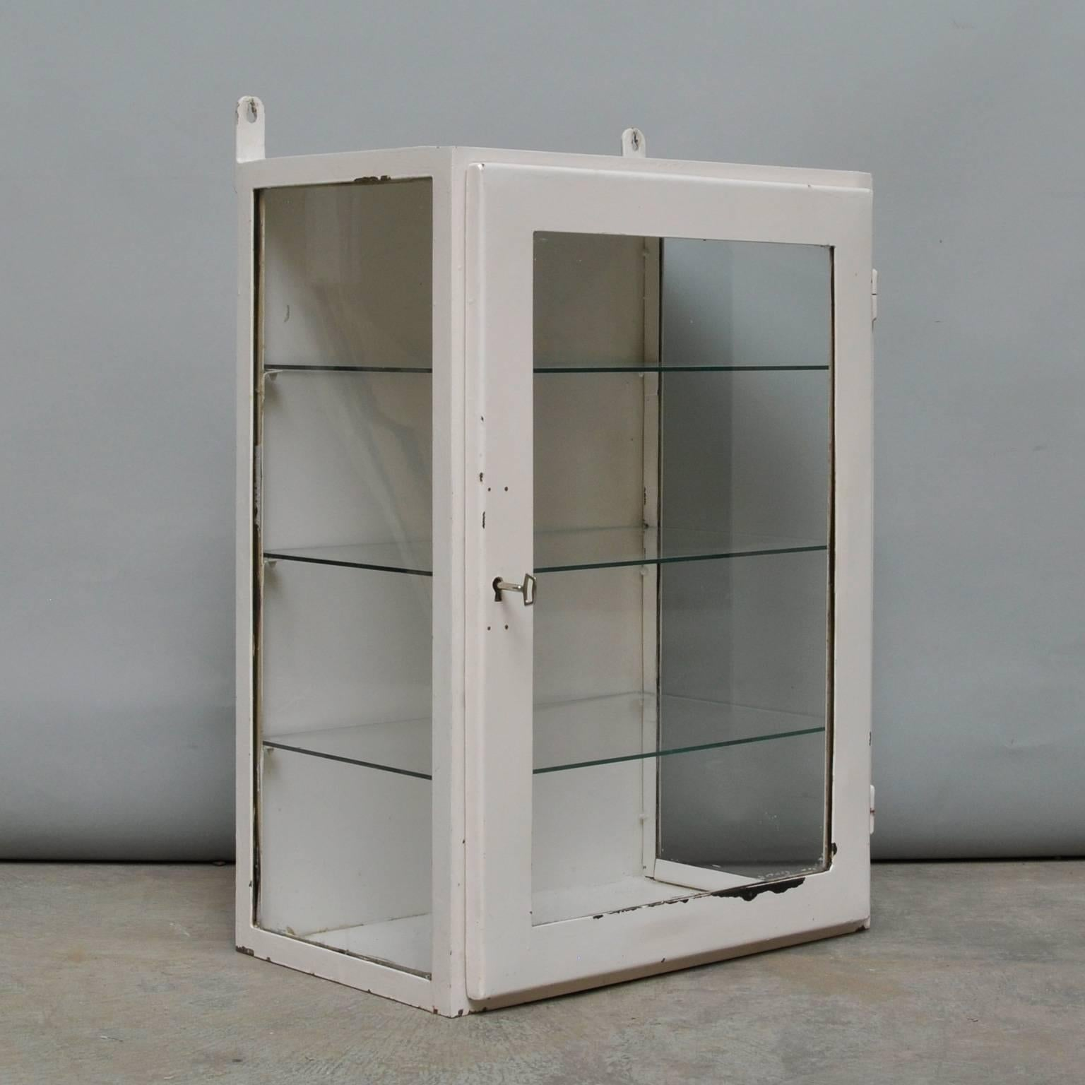 Superieur Small Hanging Iron And Antique Glass Medicine Cabinet, 1960s