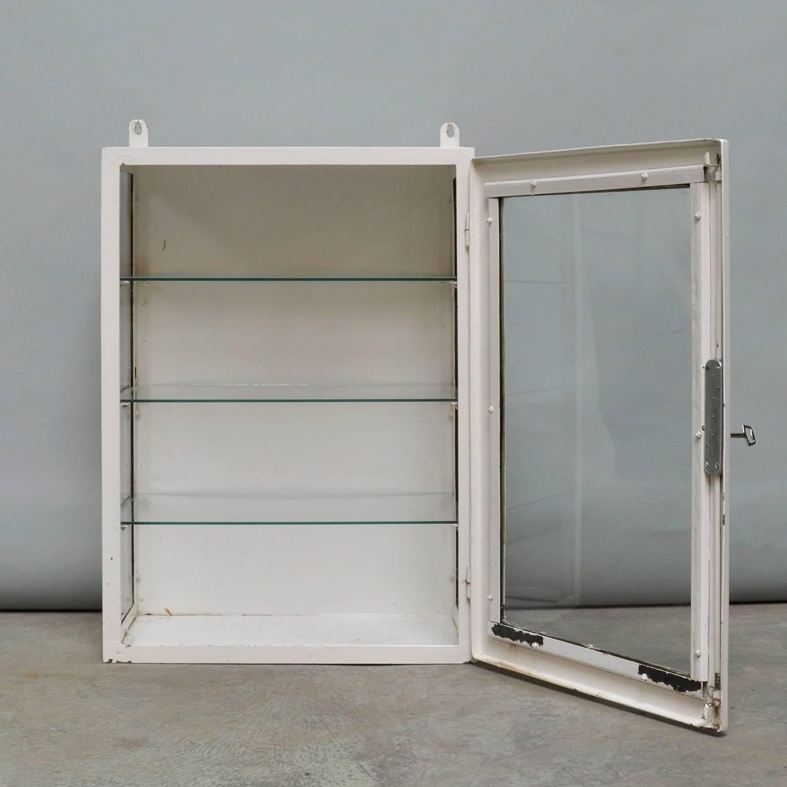 Merveilleux Mid 20th Century Small Hanging Iron And Antique Glass Medicine Cabinet,  1960s For Sale