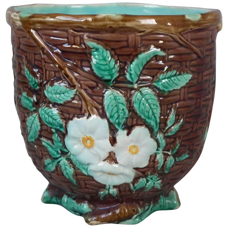Small Holdcroft Majolica Floral Jardiniere For Sale