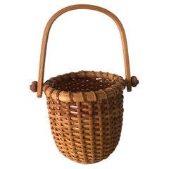 Small Honey Color Woven Nantucket Decorative Basket