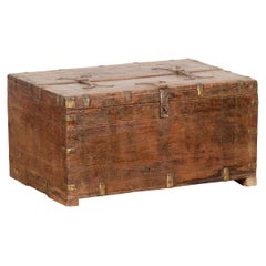 Small Indian 19th Century Box with Brass Details and Compartmented Interior
