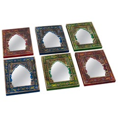 Small Indian Mirrors in Hand Painted Frames, 20th Century