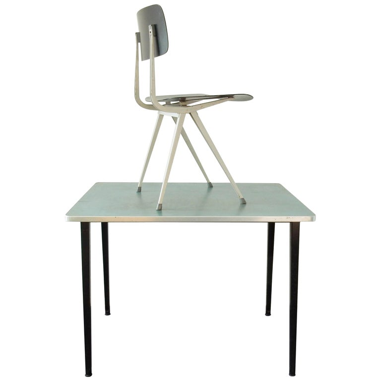 1964 Rare Friso Kramer Coffee Table For Ahrend De Cirkel: Small Industrial Desk Table Set By Friso Kramer For Ahrend
