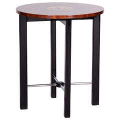 Small Inlaid Art Deco Walnut Table from France, Asian Theme, Period 1930-1939