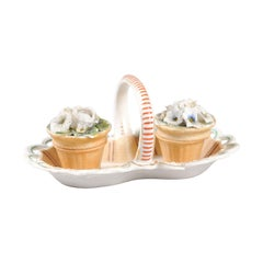 Small Italian 1860s Painted Ceramic Floral Desk Set with Ink and Sand Containers