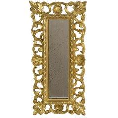 Small Italian 18th Century Baroque Giltwood Mirror