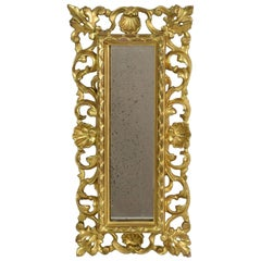 Small Italian 18th Century Baroque Giltwood Mirror