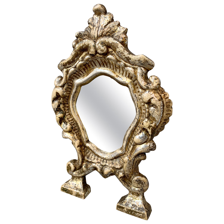 Small Italian 18th Century Baroque Silvered Wall Mirror